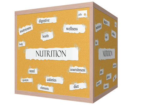 Nutrition 3D cube Corkboard Word Concept with great terms such as health, body, wellness and more.