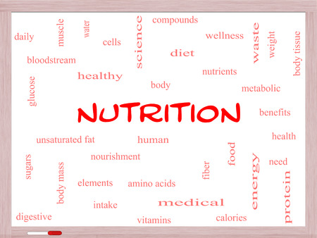 Nutrition Word Cloud Concept on a Whiteboard with great terms such as human, body, diet and more. photo