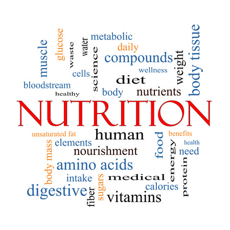 Nutrition Word Cloud Concept with great terms such as human, body, diet and more. photo