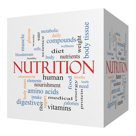 metabolic: Nutrition 3D cube Word Cloud Concept with great terms such as human, body, diet and more.