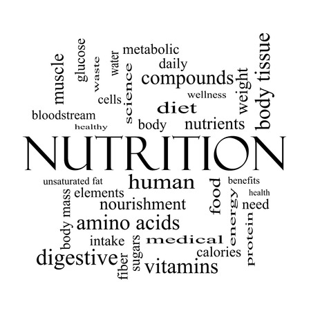 Nutrition Word Cloud Concept in black and white with great terms such as human, body, diet and more. photo