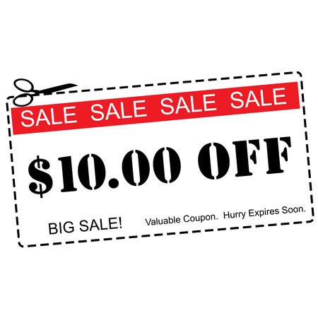 expires: A red, white and black Ten Dollars Off Sale Coupon making a great concept.