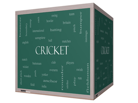 Cricket Word Cloud Concept on a 3D cube Blackboard with great terms such as batsman, wicket, ball and more. photo