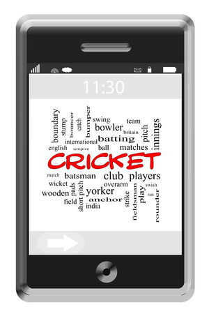 Cricket Word Cloud Concept of Touchscreen Phone with great terms such as rounder, wicket, ball and more. photo
