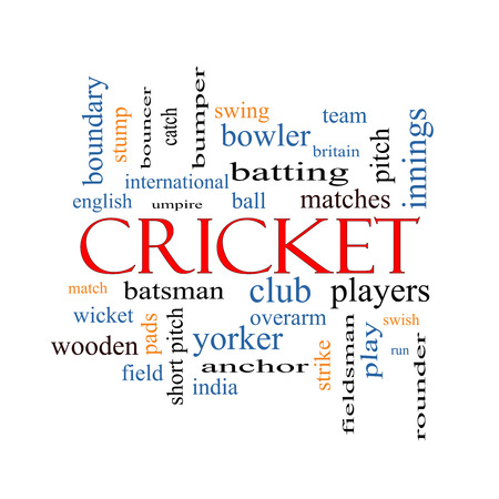 Cricket Word Cloud Concept with great terms such as batsman, wicket, ball and more. photo