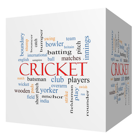 rounder: Cricket 3D cube Word Cloud Concept with great terms such as batsman, wicket, ball and more. Stock Photo