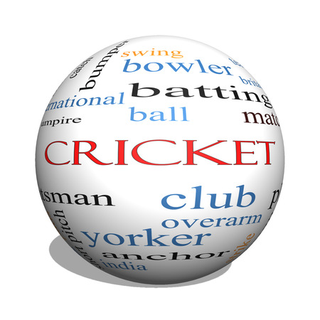 rounder: Cricket 3D sphere Word Cloud Concept with great terms such as batsman, wicket, ball and more.
