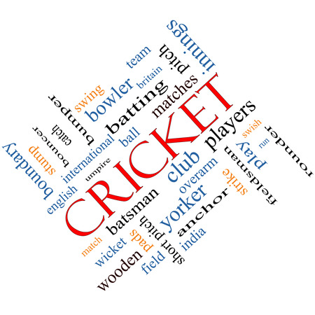 cricket stump: Cricket Word Cloud Concept angled with great terms such as batsman, wicket, ball and more. Stock Photo