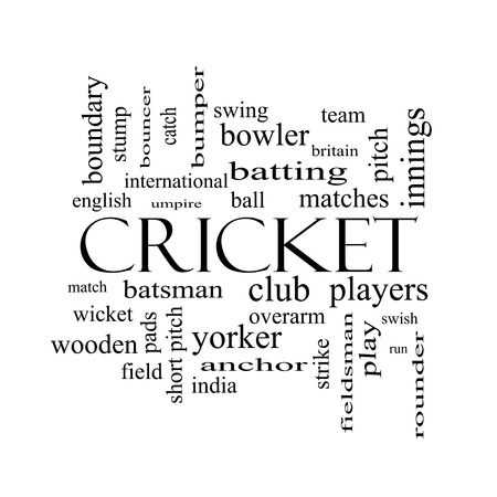 rounder: Cricket Word Cloud Concept in black and white with great terms such as batsman, wicket, ball and more. Stock Photo