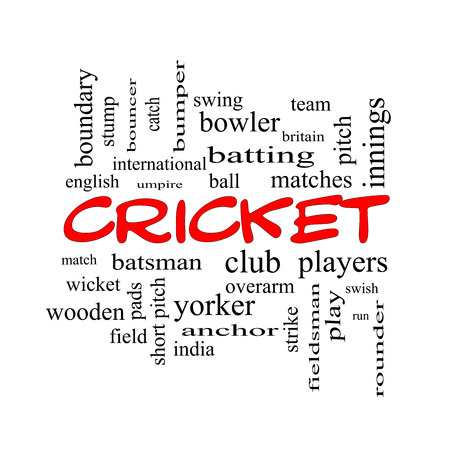 cricket stump: Cricket Word Cloud Concept in red caps with great terms such as batsman, wicket, ball and more.