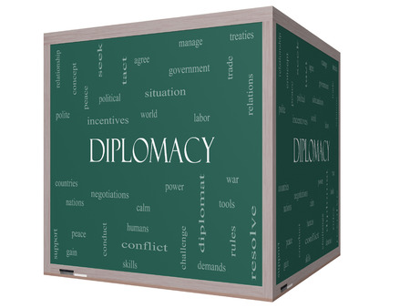 relaciones laborales: Diplomacia Palabra Nube Concepto en una pizarra cubo 3D con términos de la talla mundial, la paz, las negociaciones y mucho más.