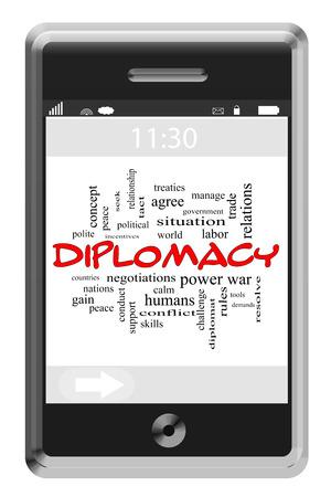 relaciones laborales: Diplomacia Palabra Nube Concepto de teléfono con pantalla táctil con los términos tales como las naciones, la paz, demandas y más.