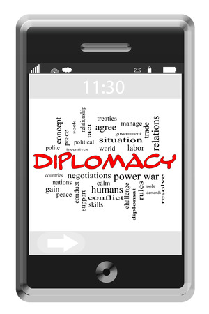 treaties: Diplomacy Word Cloud Concept of Touchscreen Phone with great terms such as nations, peace, demands and more.