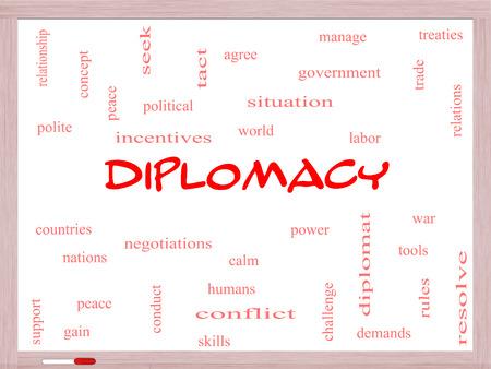 relaciones laborales: Diplomacia Palabra Nube Concepto en una pizarra con los términos de la talla mundial, la paz, las negociaciones y mucho más.