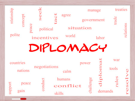 treaties: Diplomacy Word Cloud Concept on a Whiteboard with great terms such as world, peace, negotiations and more. Stock Photo