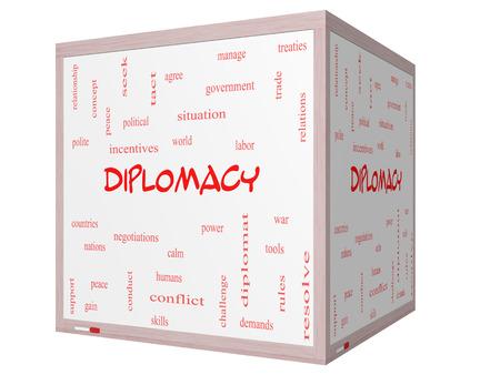labor relations: Diplomacia Palabra Nube Concepto en una pizarra cubo 3D con t�rminos de la talla mundial, la paz, las negociaciones y mucho m�s.