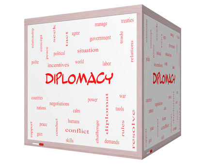 treaties: Diplomacy Word Cloud Concept on a 3D cube Whiteboard with great terms such as world, peace, negotiations and more. Stock Photo