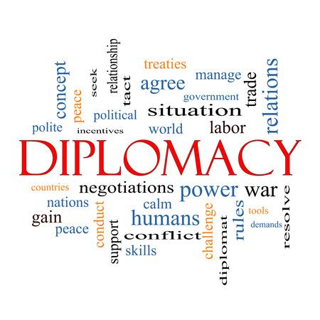 relaciones laborales: Diplomacia Palabra Nube Concepto con los t�rminos tales como mundo, la paz, las negociaciones y mucho m�s. Foto de archivo