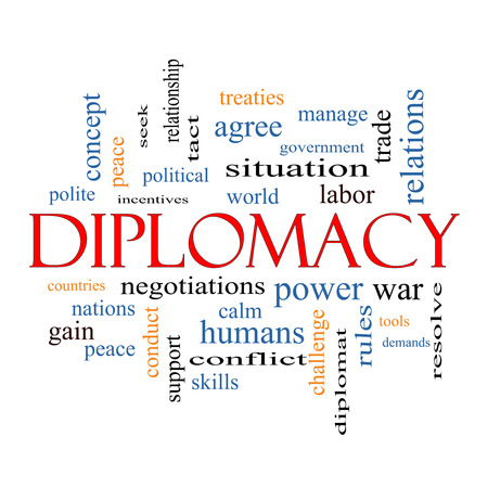 Diplomacy Word Cloud Concept with great terms such as world, peace, negotiations and more. photo