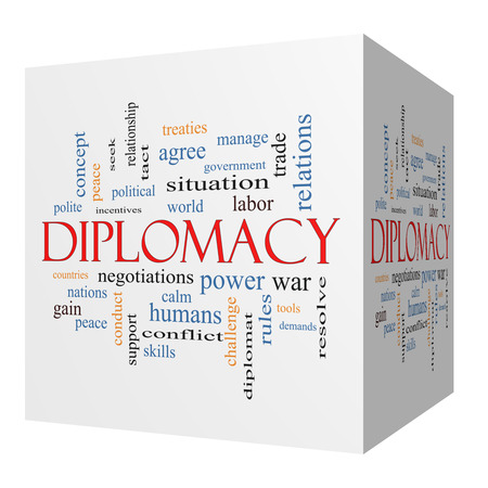 treaties: Diplomacy 3D cube Word Cloud Concept with great terms such as world, peace, negotiations and more.
