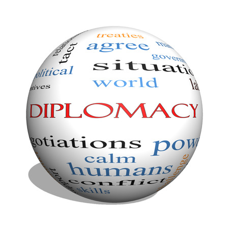 relaciones laborales: Diplomacia 3D esfera Palabra Nube Concepto con los términos tales como mundo, la paz, las negociaciones y mucho más.