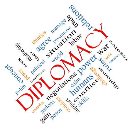 relaciones laborales: Diplomacia Palabra Nube Concepto en ángulo con términos de la talla mundial, la paz, las negociaciones y mucho más.