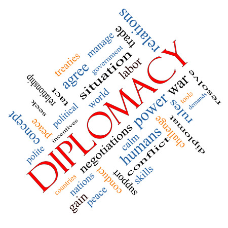 tact: Diplomacy Word Cloud Concept angled with great terms such as world, peace, negotiations and more. Stock Photo