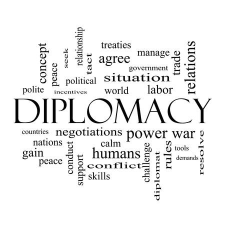 relaciones laborales: Diplomacia Palabra Nube Concepto en blanco con grandes t�rminos como mundo, la paz, las negociaciones y m�s y negro.