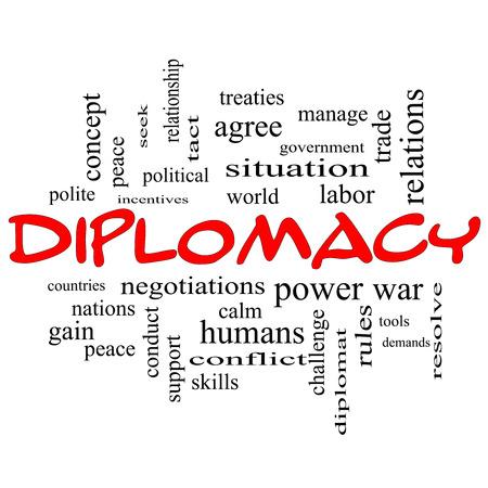 relaciones laborales: Diplomacia Palabra Nube Concepto de gorras rojas con grandes términos como mundo, la paz, las negociaciones y mucho más. Foto de archivo