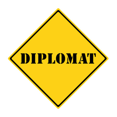 diplomat: A yellow and black diamond shaped road sign with the word DIPLOMAT making a great concept. Stock Photo