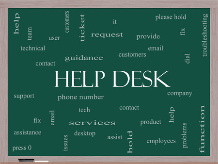 Help Desk Word Cloud Concept on a Blackboard with great terms such as customers, email, support and more.