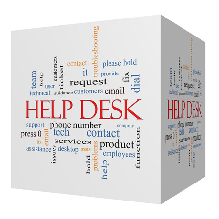 Help Desk 3D cube Word Cloud Concept with great terms such as customers, email, support and more. Zdjęcie Seryjne