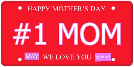 Number One mama geschreven op een imitatie kenteken met de Gelukkige Moederdag en We Love You