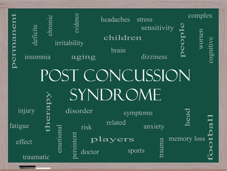 concussion: Post Concussion Syndrome Word Cloud Concept on a Blackboard with great terms such as brain, injury, trauma and more. Stock Photo