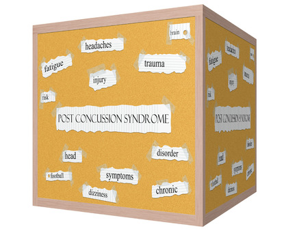 concussion: Post Concussion Syndrome 3D Corkboard Word Concept with great terms such as football, brain, injury and more.