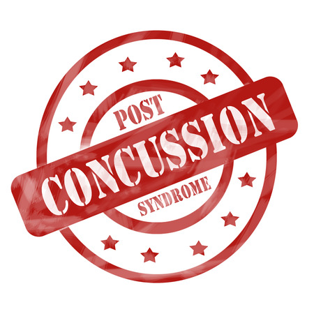 concussion: A red ink weathered roughed up circles and stars stamp design with the words POST CONCUSSION SYNDROME on it making a great concept.