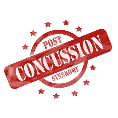 concussion: A red ink weathered roughed up circle and stars stamp design with the words POST CONCUSSION SYNDROME on it making a great concept. Stock Photo
