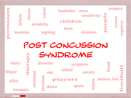 Post Concussion Syndrome Word Cloud Concept on a Whiteboard with great terms such as brain, injury, trauma and more. photo
