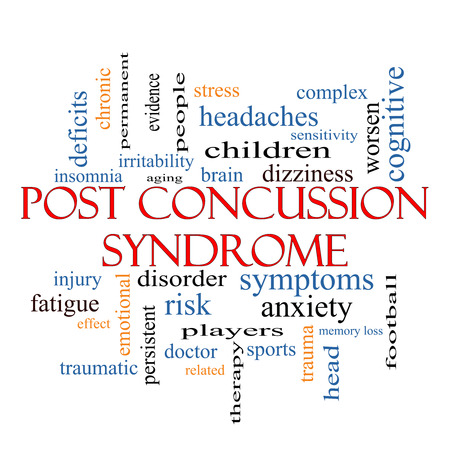 concussion: Post Concussion Syndrome Word Cloud Concept with great terms such as brain, injury, trauma and more.