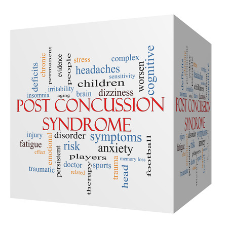 deficits: Post Concussion Syndrome 3D cube Word Cloud Concept with great terms such as brain, injury, trauma and more.