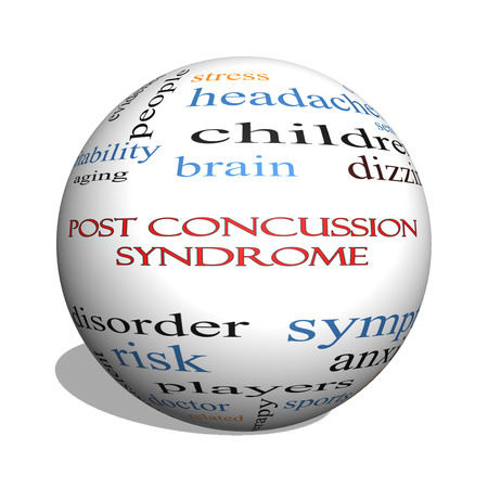 concussion: Post Concussion Syndrome 3D sphere Word Cloud Concept with great terms such as brain, injury, trauma and more.
