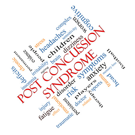 Post Concussion Syndrome Word Cloud Concept angled with great terms such as brain, injury, trauma and more. photo