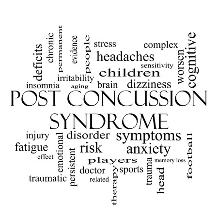 Post Concussion Syndrome Word Cloud Concept in black and white with great terms such as brain, injury, trauma and more. photo