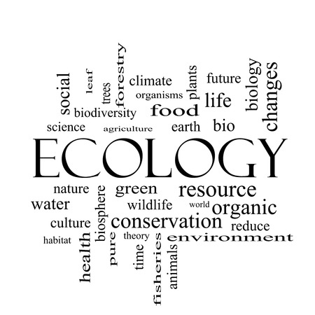 Ecology Word Cloud Concept in black and white with great terms such as green, resource, organic and more.