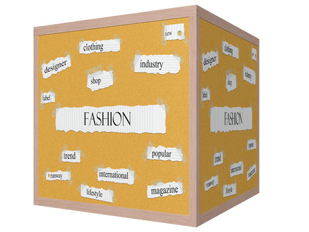 famous industries: Fashion 3D cube Corkboard Word Concept with great terms such as clothing, industry, magazine and more.