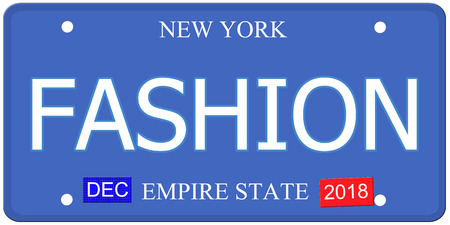 An imitation New York license plate with the word FASHION making a great concept. photo