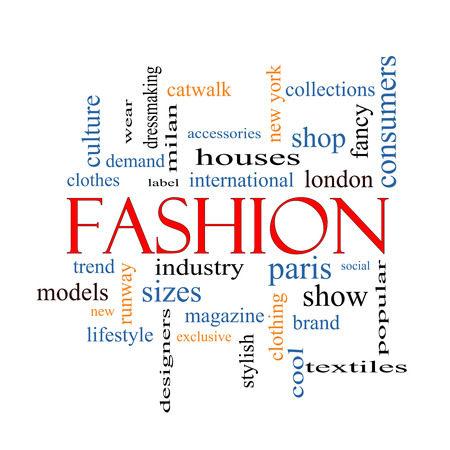 Fashion Word Cloud Concept with great terms such as catwalk, models, clothing and more. photo