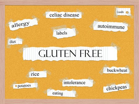 celiac disease: Gluten Free Corkboard Word Concept with great terms such as celiac, disease, foods and more. Stock Photo