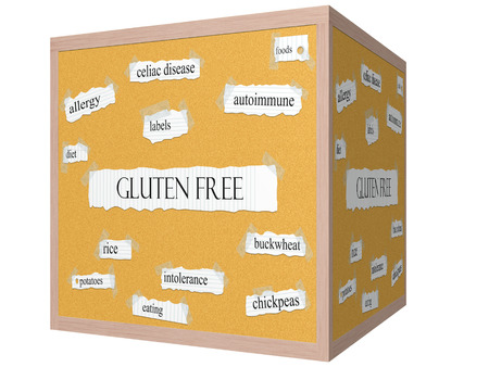 Gluten Free 3D cube Corkboard Word Concept with great terms such as celiac, disease, foods and more. photo