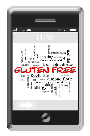 Gluten Free Word Cloud Concept on a Touchscreen Phone with great terms such as food, allergy, diet and more.